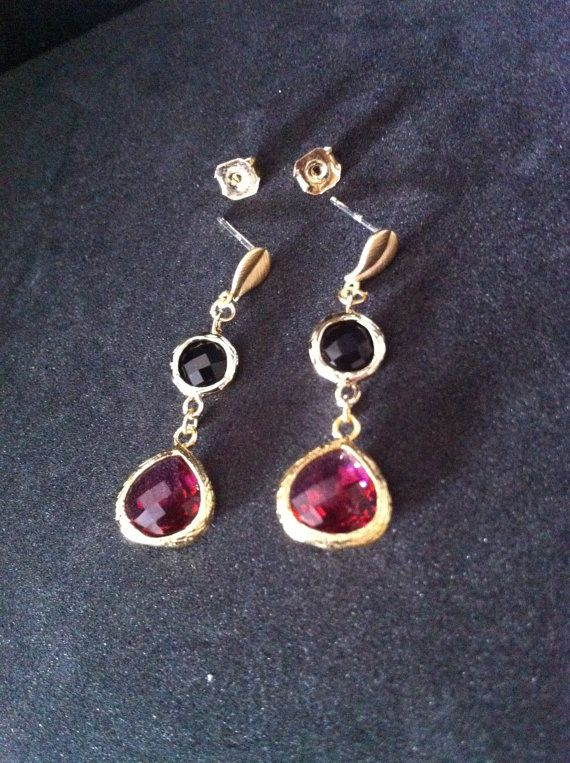 Faceted Ruby and Onyx Glass Stone Dangle Earrings by SwamiJewelry, $28.00