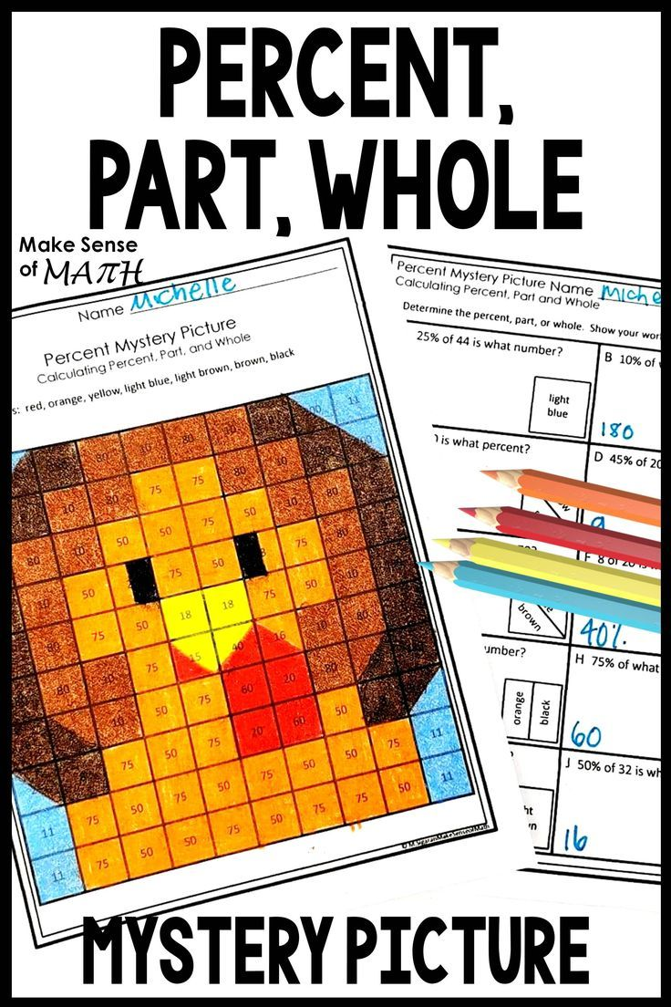Thanksgiving Math Activity Mystery Picture Percent Part