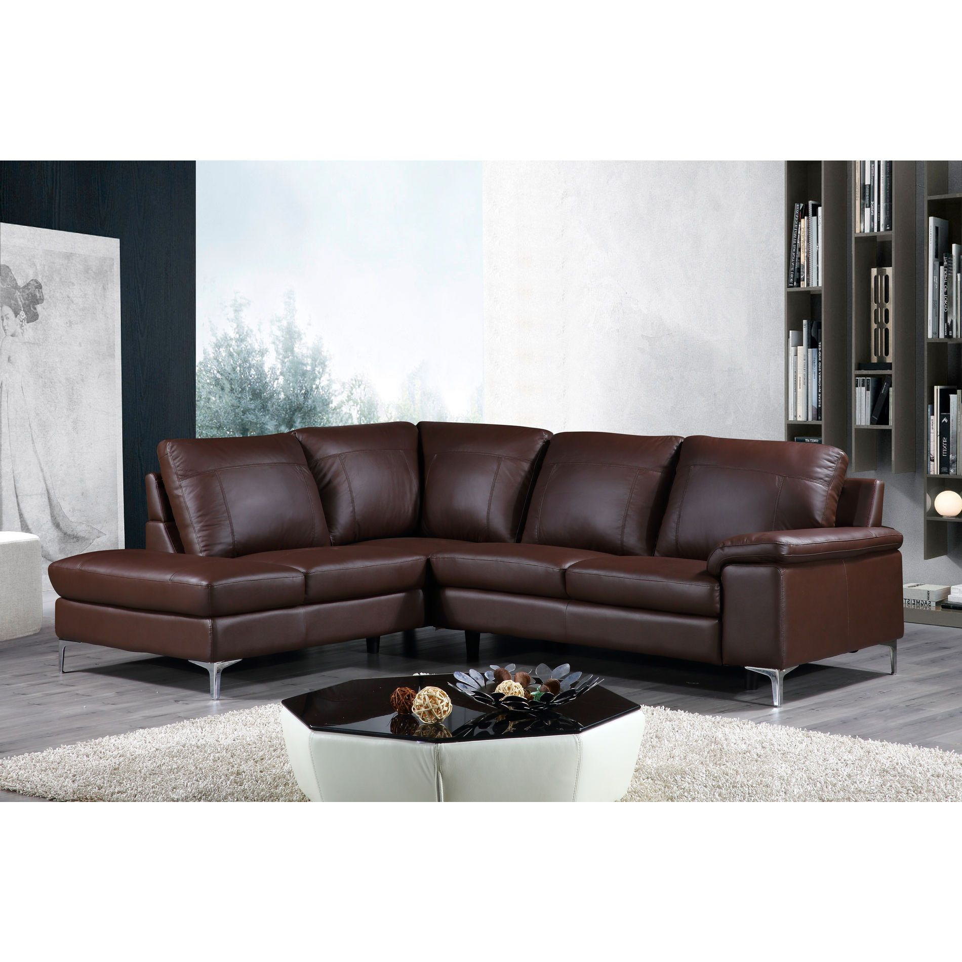 Cortesi Home Contemporary Dallas Genuine Leather Sectional Sofa With Left Side Facing Chaise Lounge Brown 80 X98 Leather Sectional Sofas Sectional Sofa Genuine Leather Sectional