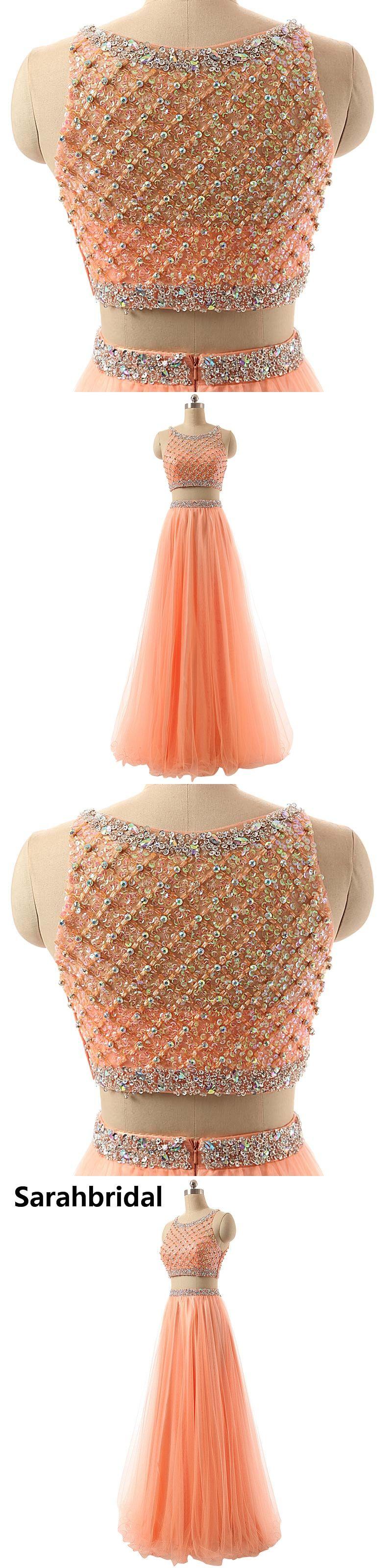 Coral tulle luxury crystal prom dresses graduation dresses custom