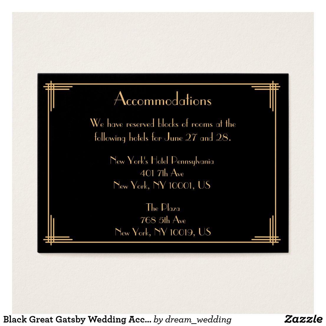 Black Great Gatsby Wedding Accommodation Cards Accommodations Card