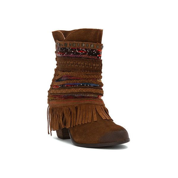 Naughty Monkey Poncho Fringe Boot Ankle Boots (1 935 ZAR) ❤ liked on Polyvore featuring shoes, boots, ankle booties, suede tan suede, short boots, woven boots, fringe ankle bootie, naughty-monkey booties and ankle boots
