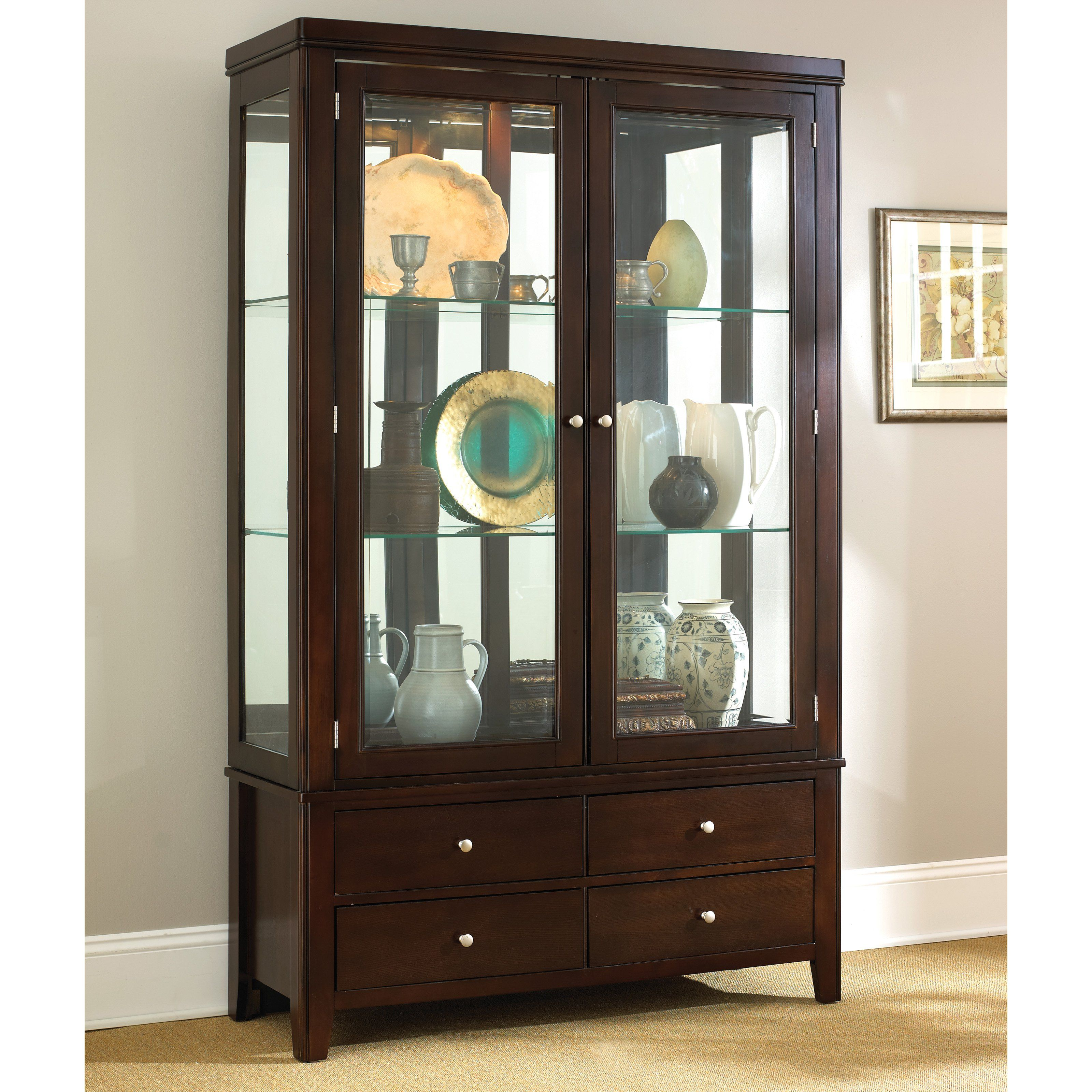 Steve Silver Wilson Contemporary Dark Brown China Cabinet With Drawers U0026  Glass Doors