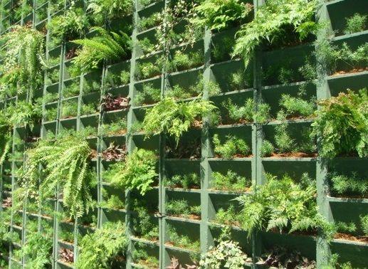 Jardim vertical. T?cnica de blocos pr?-moldados. Utiliza ...