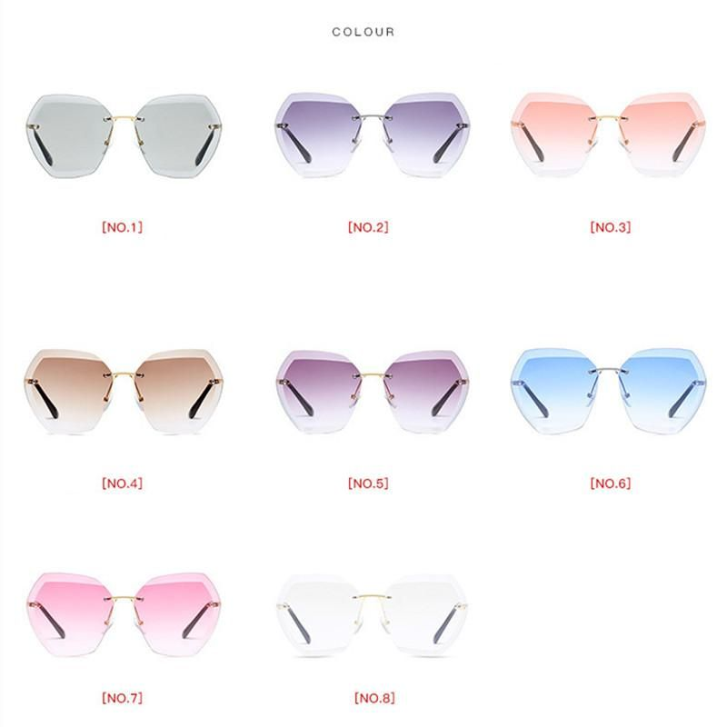a48fff2130 Luxury Vintage Rimless Sunglasses Women Brand Designer Oversized Retro  Female Sunglass For Women Lady Sunglass 2018