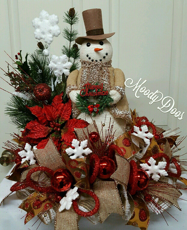 Snowman centerpiece christmas holidays by for Decoracion christmas navidenos
