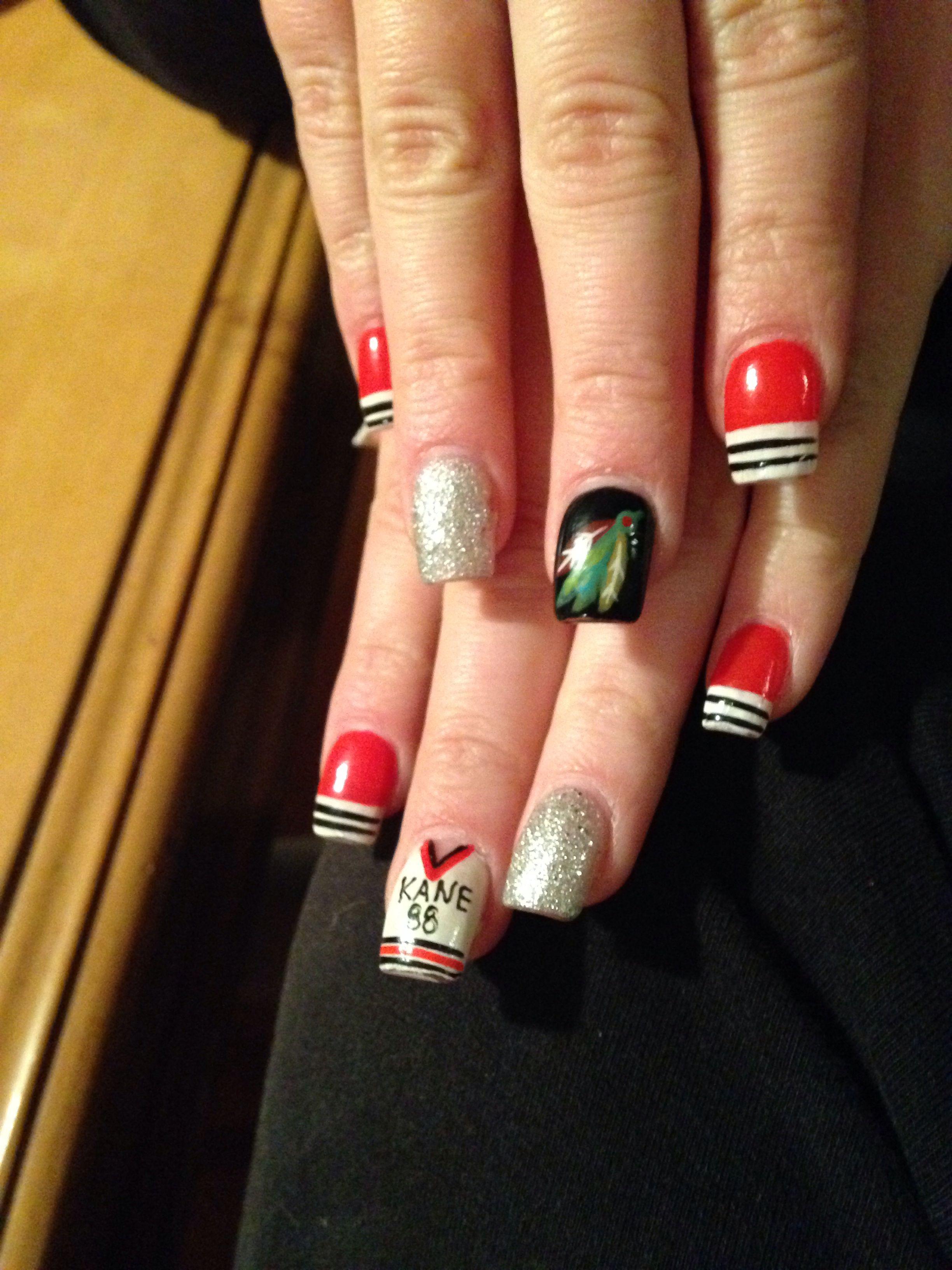 Blackhawks nails Nancy Nguyen Football nails, Nails