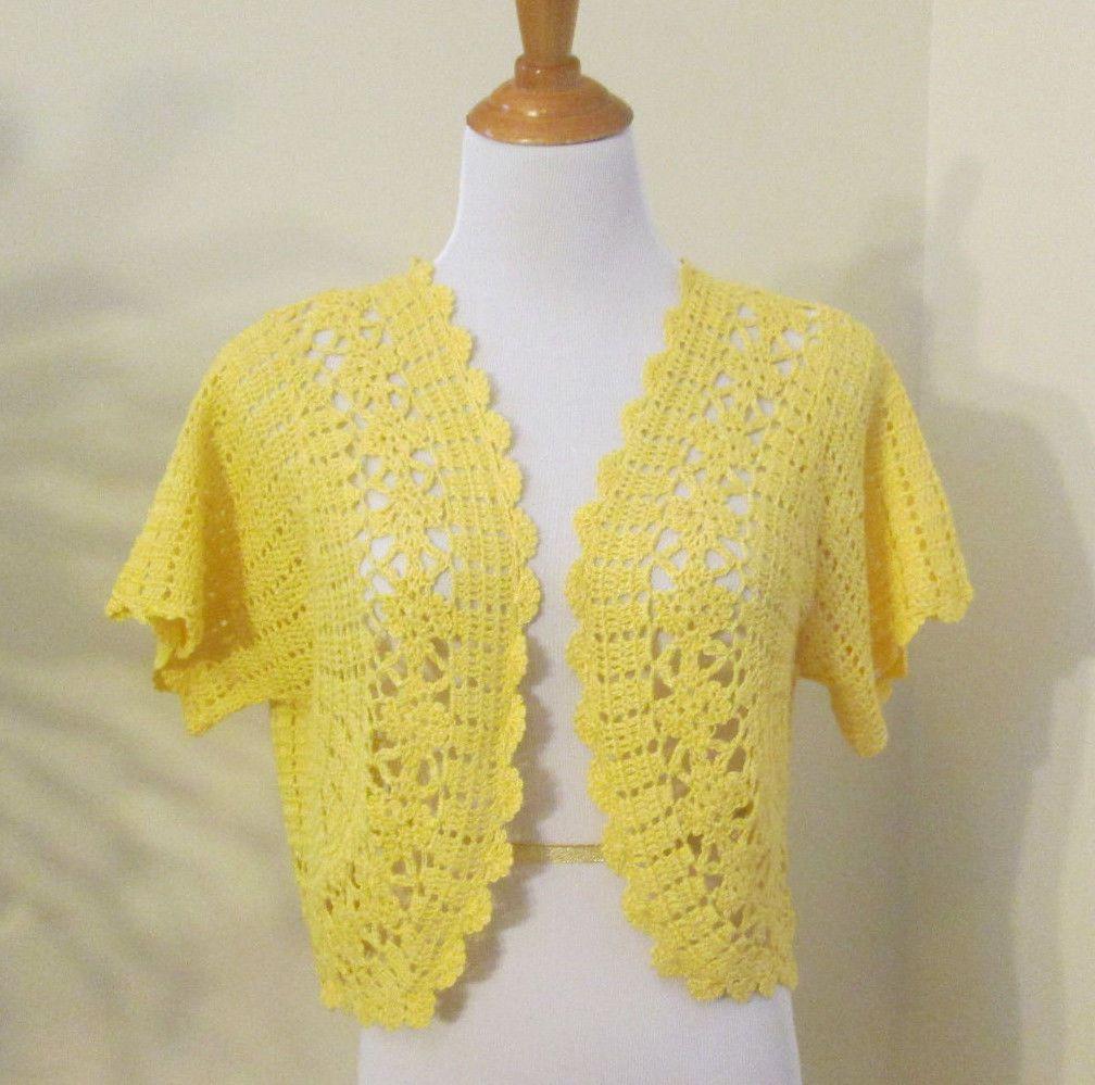 Yellow Cardigan Crochet Bolero Size L 12 14 Effortless Style Short ...