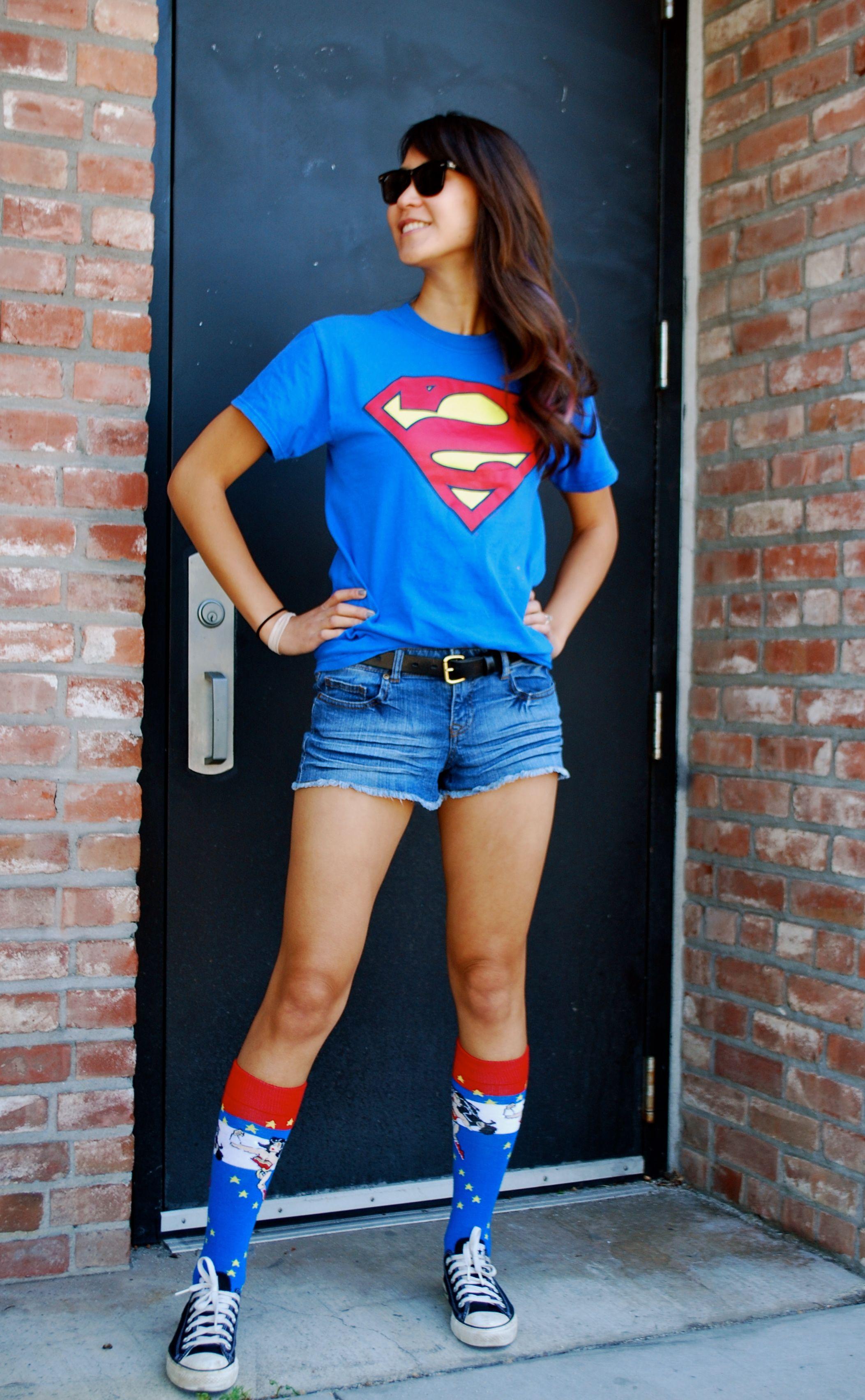 Comic Fest Outfit - Superman shirt and Wonder Woman socks