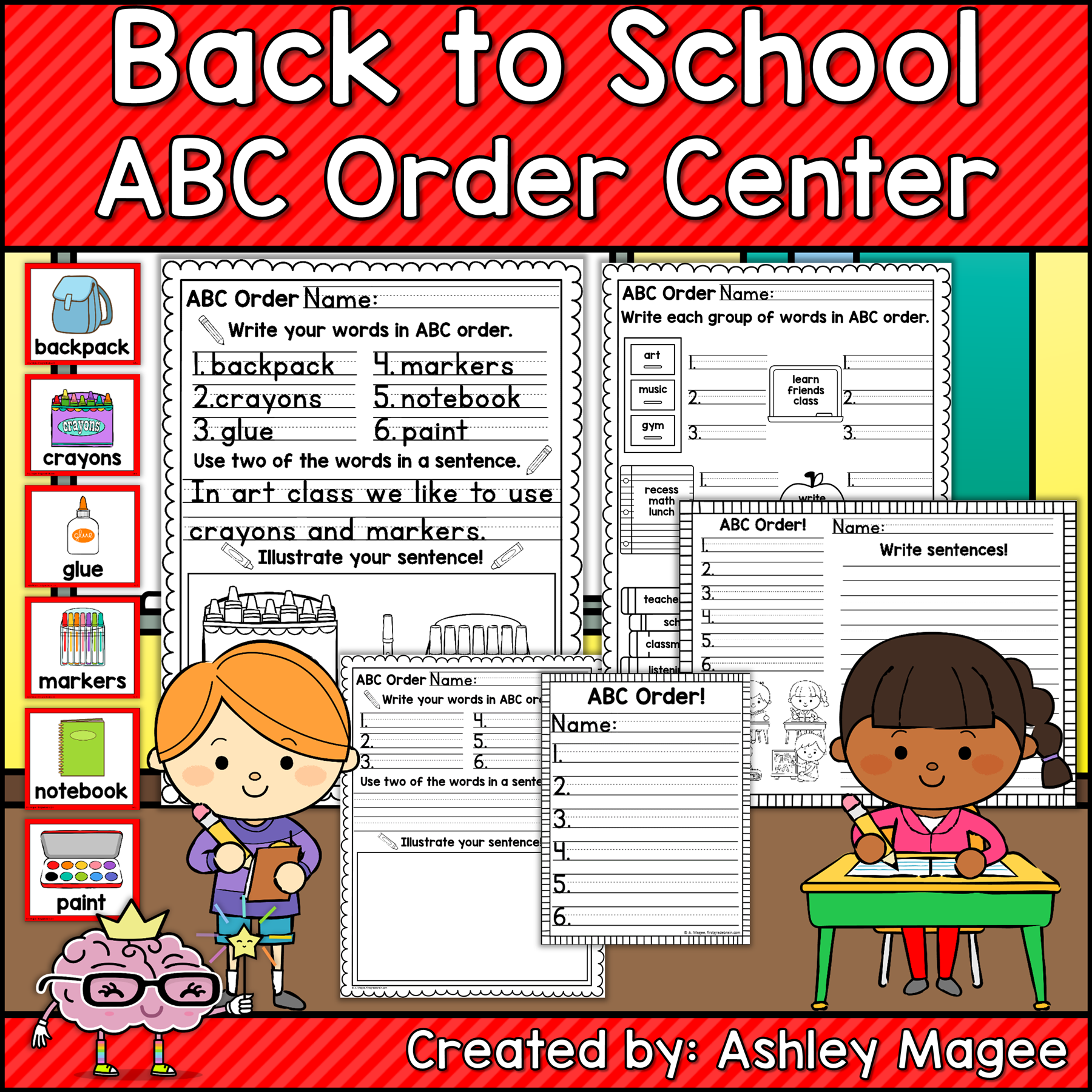 Back To School Abc Order Center Station With