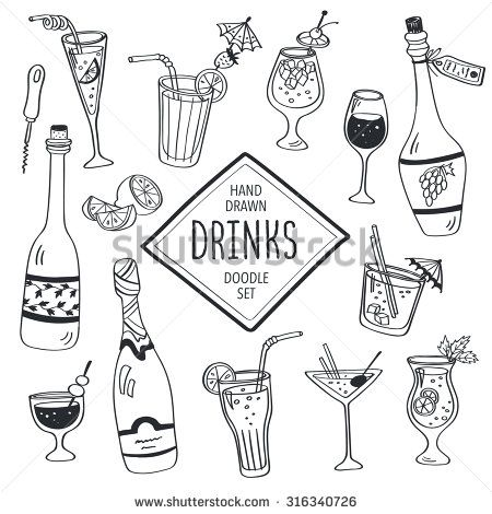 Drinks doodle set. Hand drawn cocktails icons isolated on