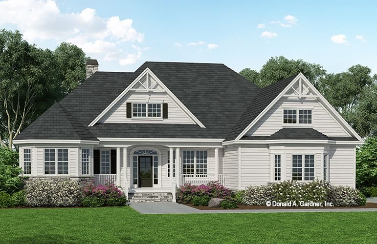 This Striking Home Plan Exterior Includes Oversized Gables Turret Style Architecture And Bay Country Style House Plans Craftsman Style House Plans House Plans