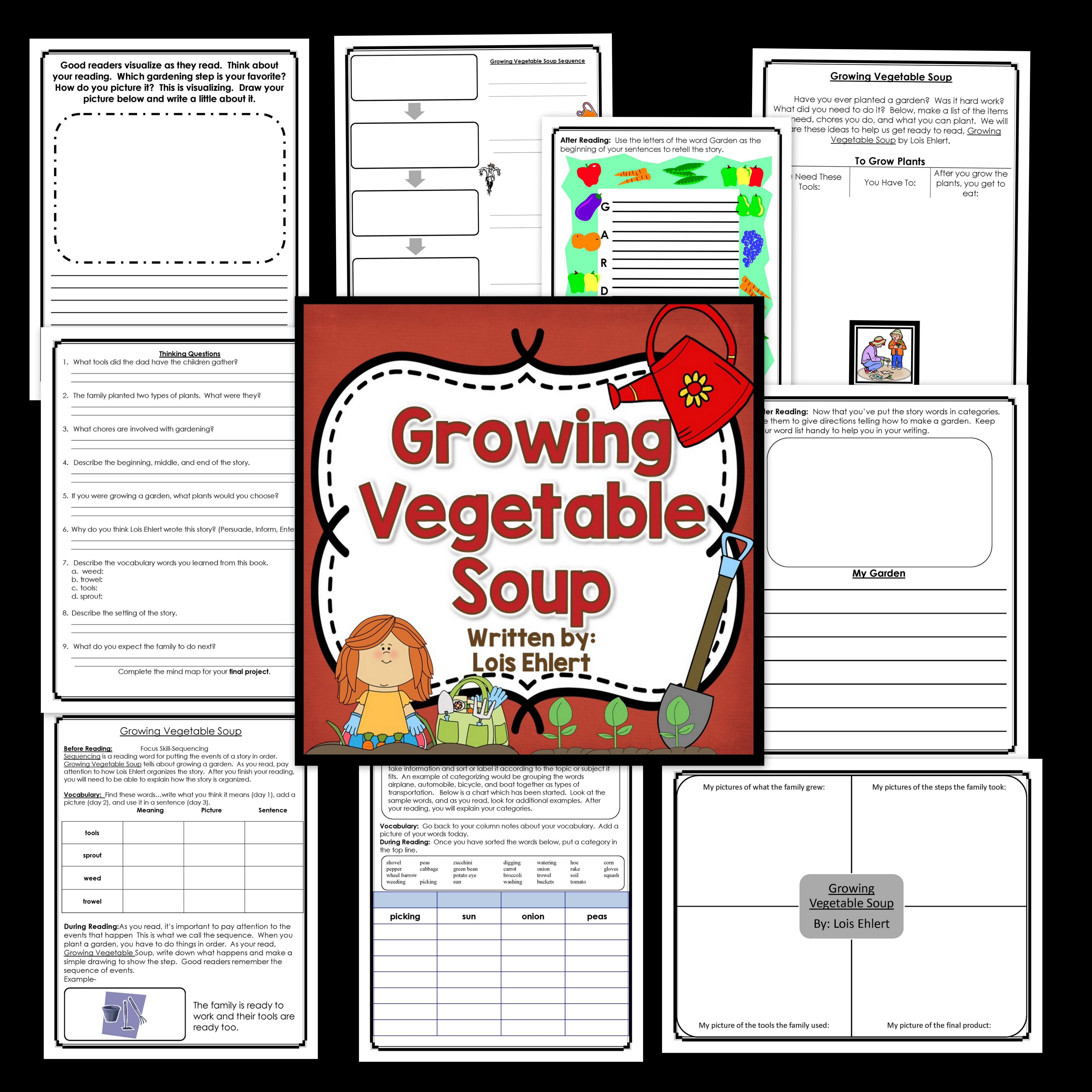 Growing Vegetable Soup Is A Great Book For The Beginning Reader And This Unit Includes Before During And Af Growing Vegetables Literacy Books Book Companion [ 5120 x 5120 Pixel ]