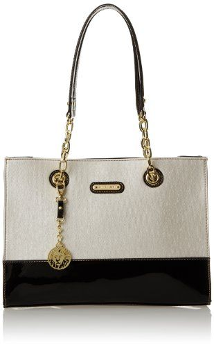 black friday anne klein in full bloom tote shoulder bag ivory black from anne klein cyber. Black Bedroom Furniture Sets. Home Design Ideas