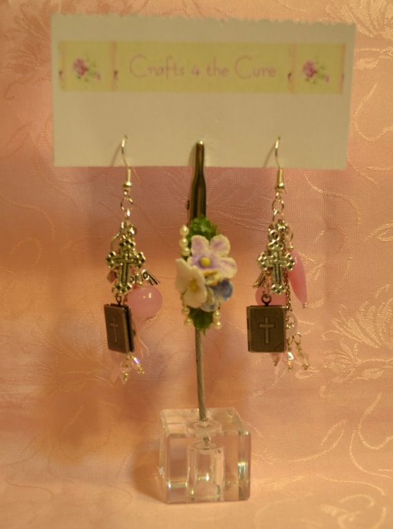 Bible Locket and Cross Pink Breast Cancer Awareness Earrings by crafts4thecure on Etsy, $18.50