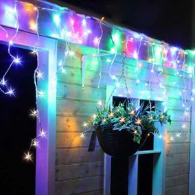 360 multi coloured snowing icicle lights ukchristmasworld icicle lights led multicoloured