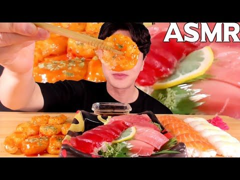 Asmr Mangiare Pesce Gamberi Chili Sashimi Di Tonno Sushi Di