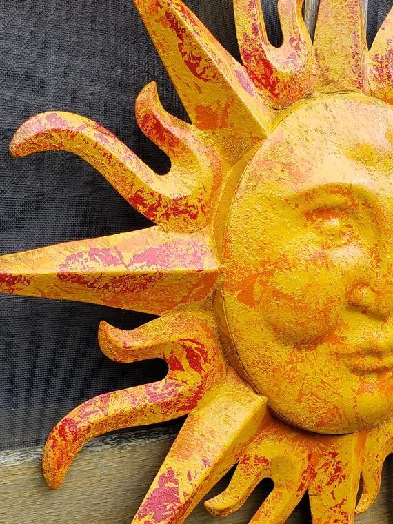 Garden Decor Metal Sun Wall Art Outdoor, Large Outdoor Sun Wall Art