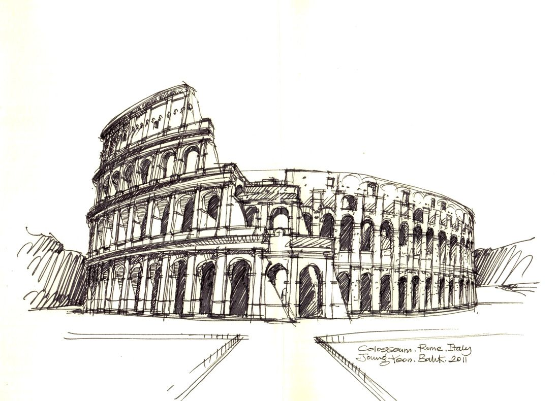 Colosseum, Rome, Italy / Sketch By Joungyeon, Bahk (Grid-A