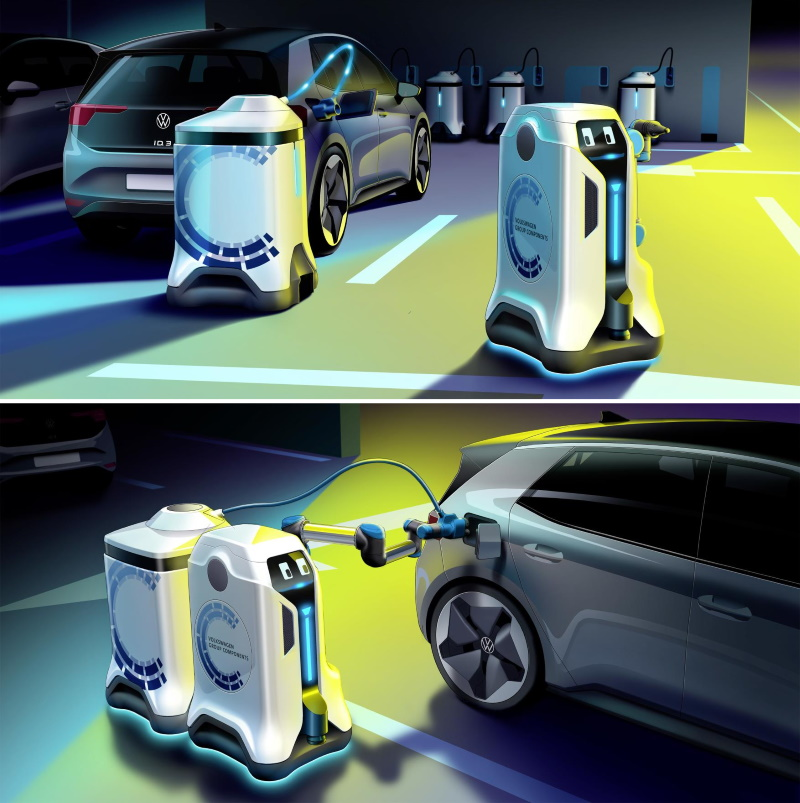 VW's Autonomous Car Charging Robots