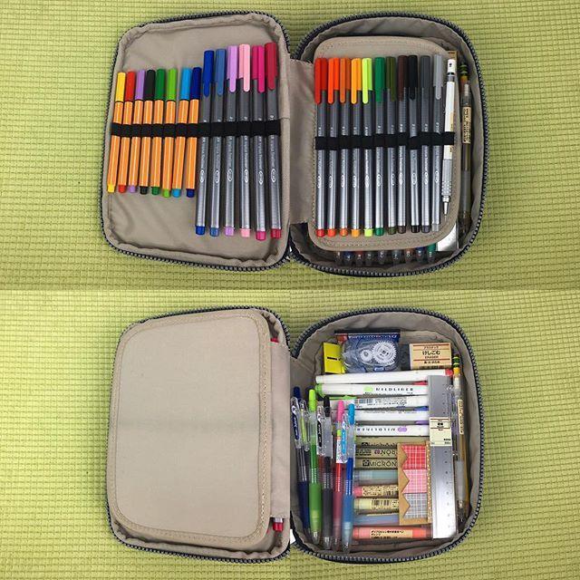 reorganized my [kipling 100] pen case today ✨ i love how it looks now  #studygram #study #studyspo #studyblr #planneraddict #stationeryaddict #stationery #bujo