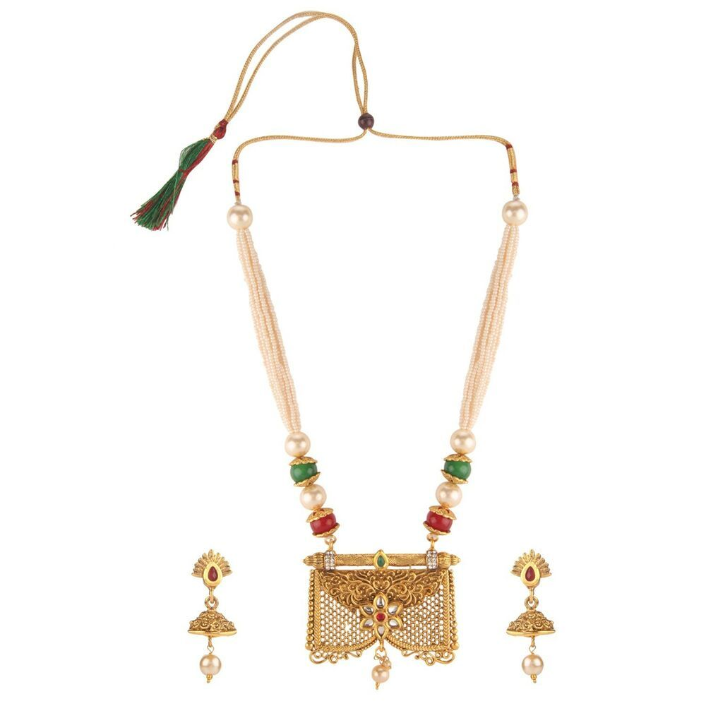 Jewel India Traditional Ethnic Wedding Collection Gold Plated Bollywood Pearl Kundan Choker Necklace Set
