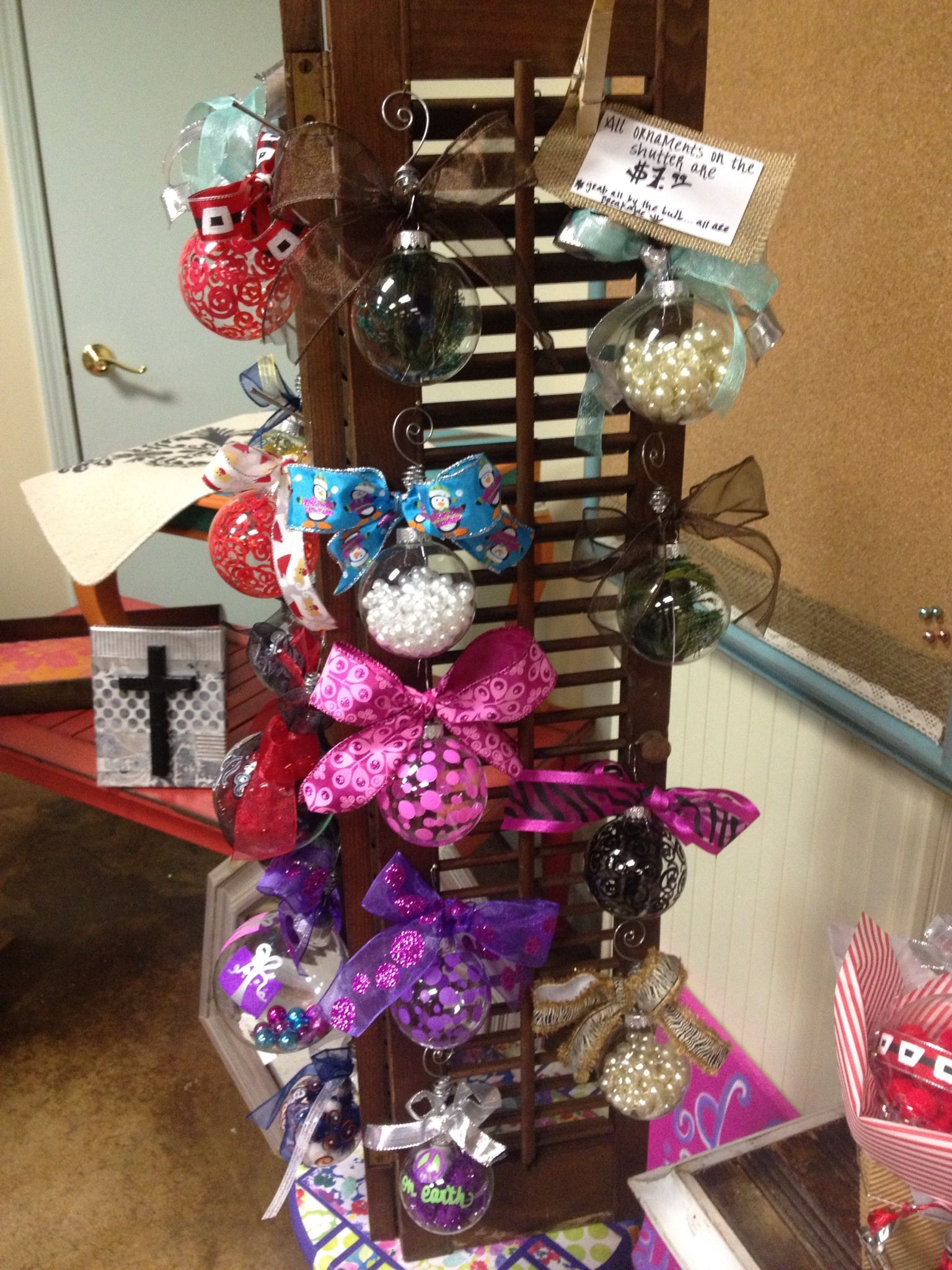 Ornaments displayed on shutters | Craft show displays ...