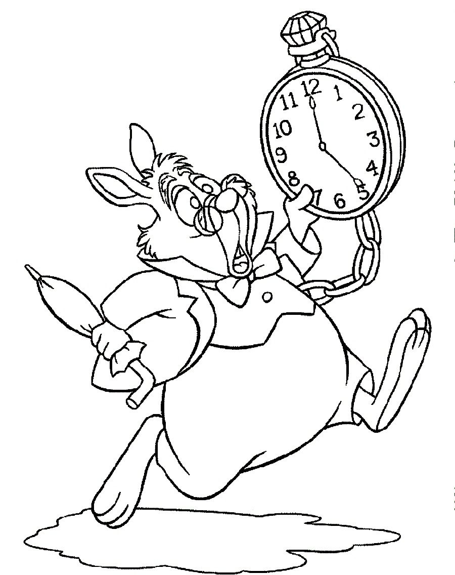 Coloring by numbers for rabbits - Alice In Wonderland White Rabbit Coloring Pages