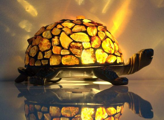 Amber Turtle Decorative Interesting Shape Amber Table Lamp