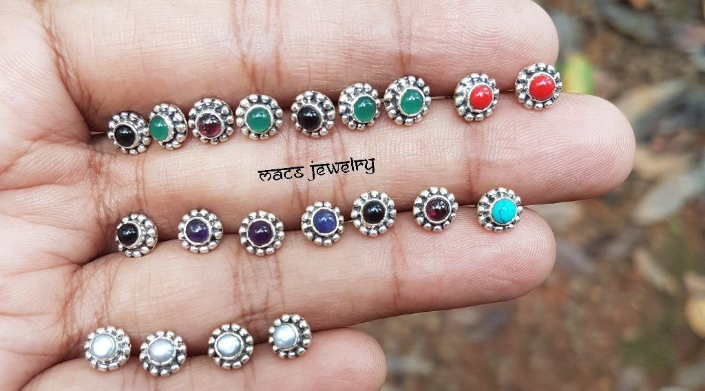 Silver Stone Crock Screw  Nose Jewelry Indian Nose Ring Nose Piercing Nose Ring