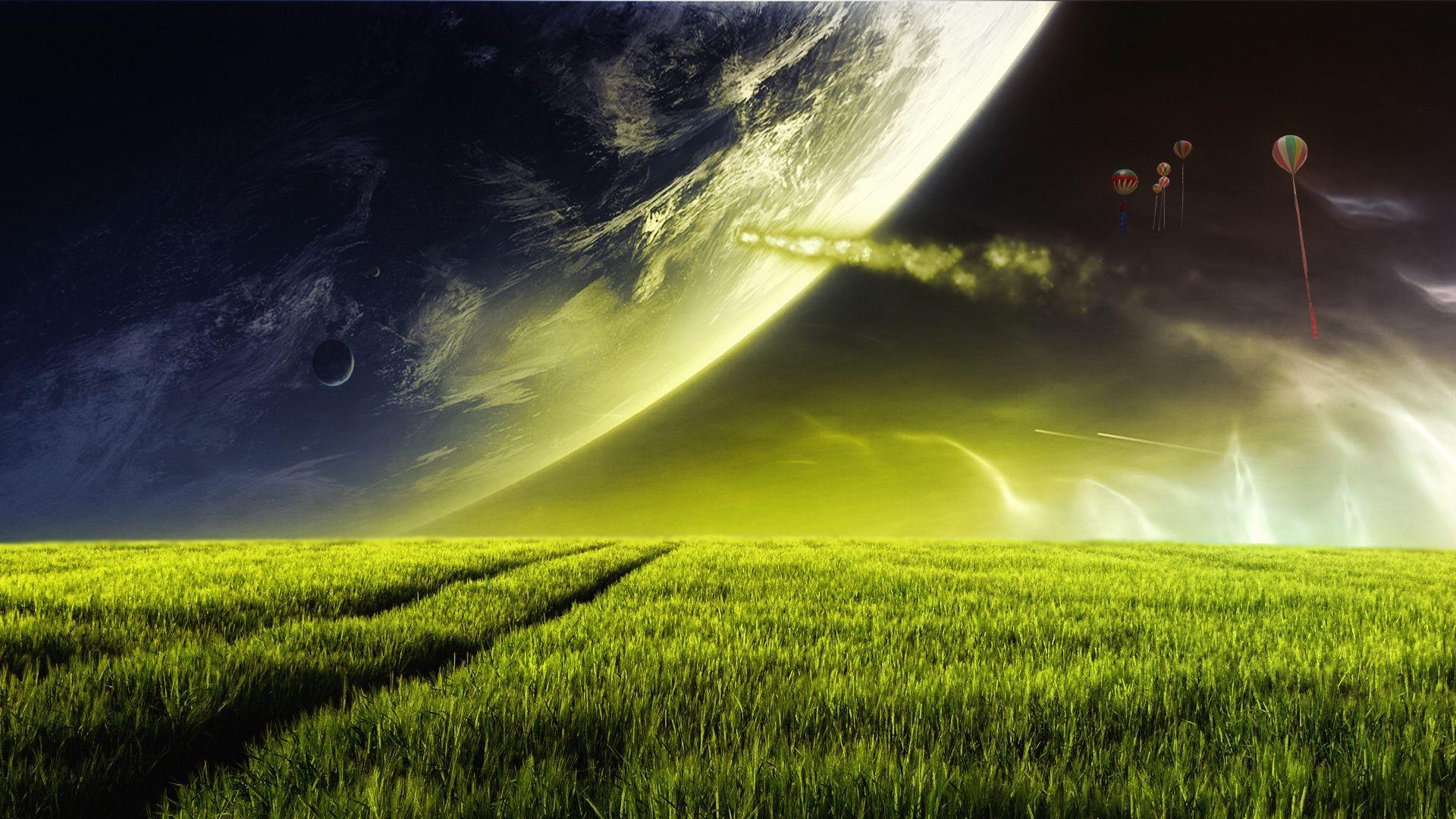 Field Balloons Alien Landscape wallpaper
