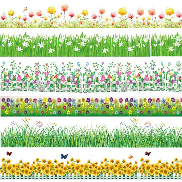 2017 Spring Flower Baseboard Wall Stickers Grass Plants Border Wallpaper Home Bedroom Nursery Party Decor G Wall Stickers Grass Diy Nursery Decor Paper Flowers