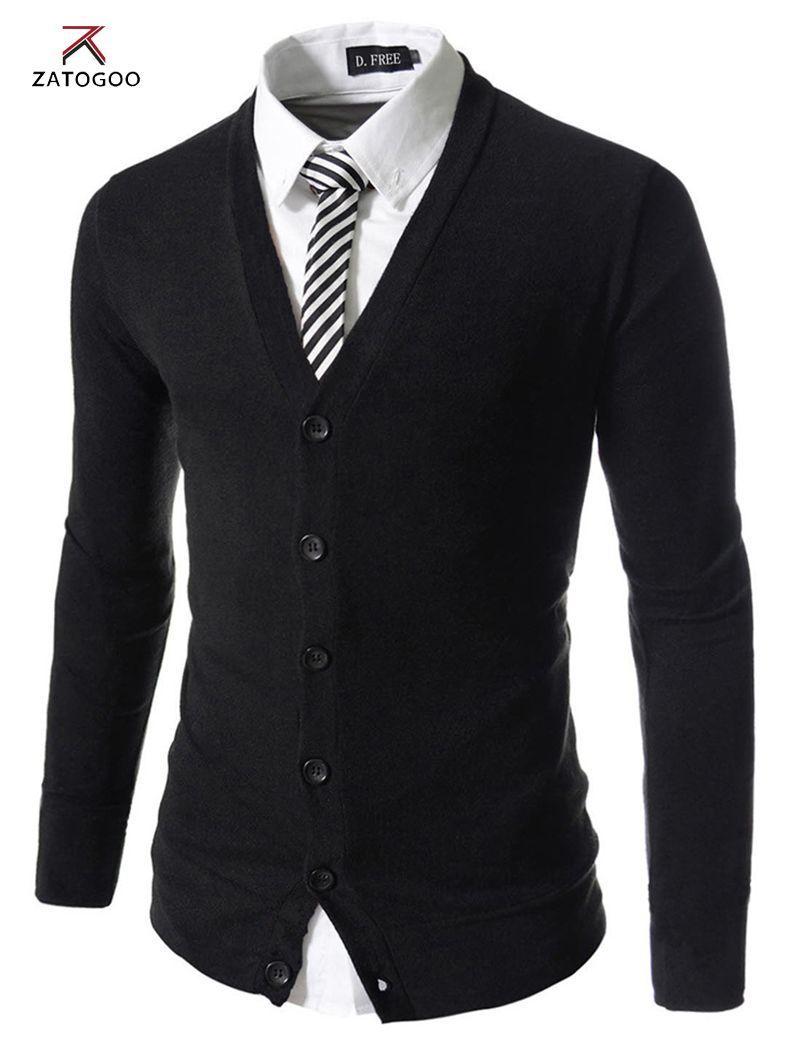 ZATOGOO men's fashion pure color cotton cardigan v-neck formal ...