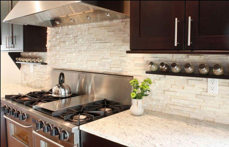 Decoracion cocinas modernas con salpicaderos brillantes Decoracion