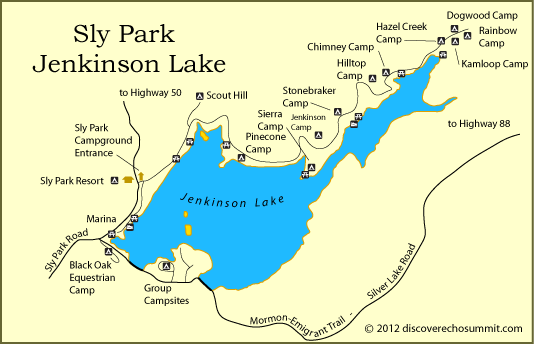 Sly park lake map sly park campground eldorado for Union valley reservoir fishing