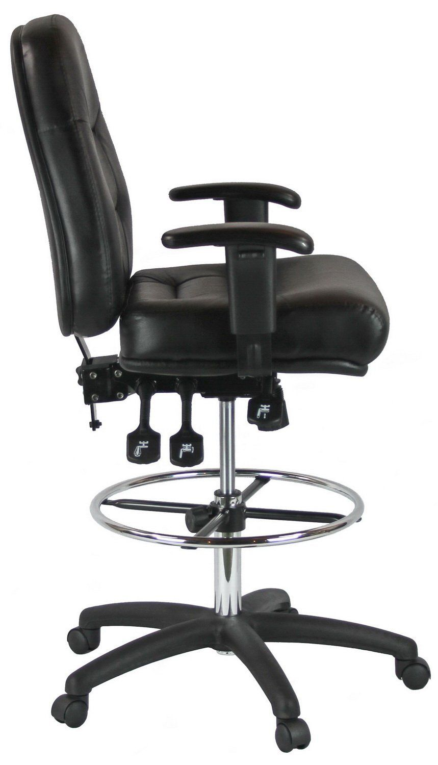 Harwick premium leather drafting chair with arms black