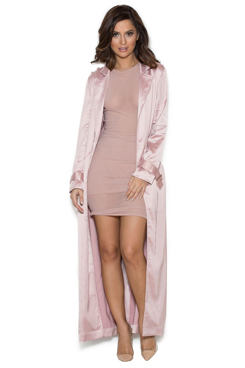 Clothing : Jackets : 'Fabienne' Rose Gold Satin Duster Coat ...