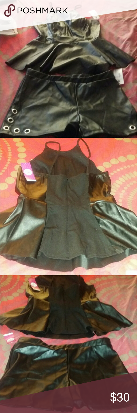 Faux leather set Top and shorts Other