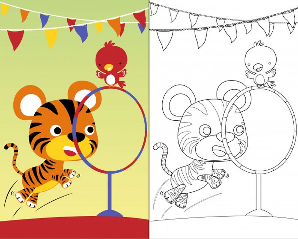 Coloring Book Vector With Cute Animals Circus Show Paid Affiliate Paid Vector In 2020 Cartoon Illustration Coloring Books Photographer Business Card Template