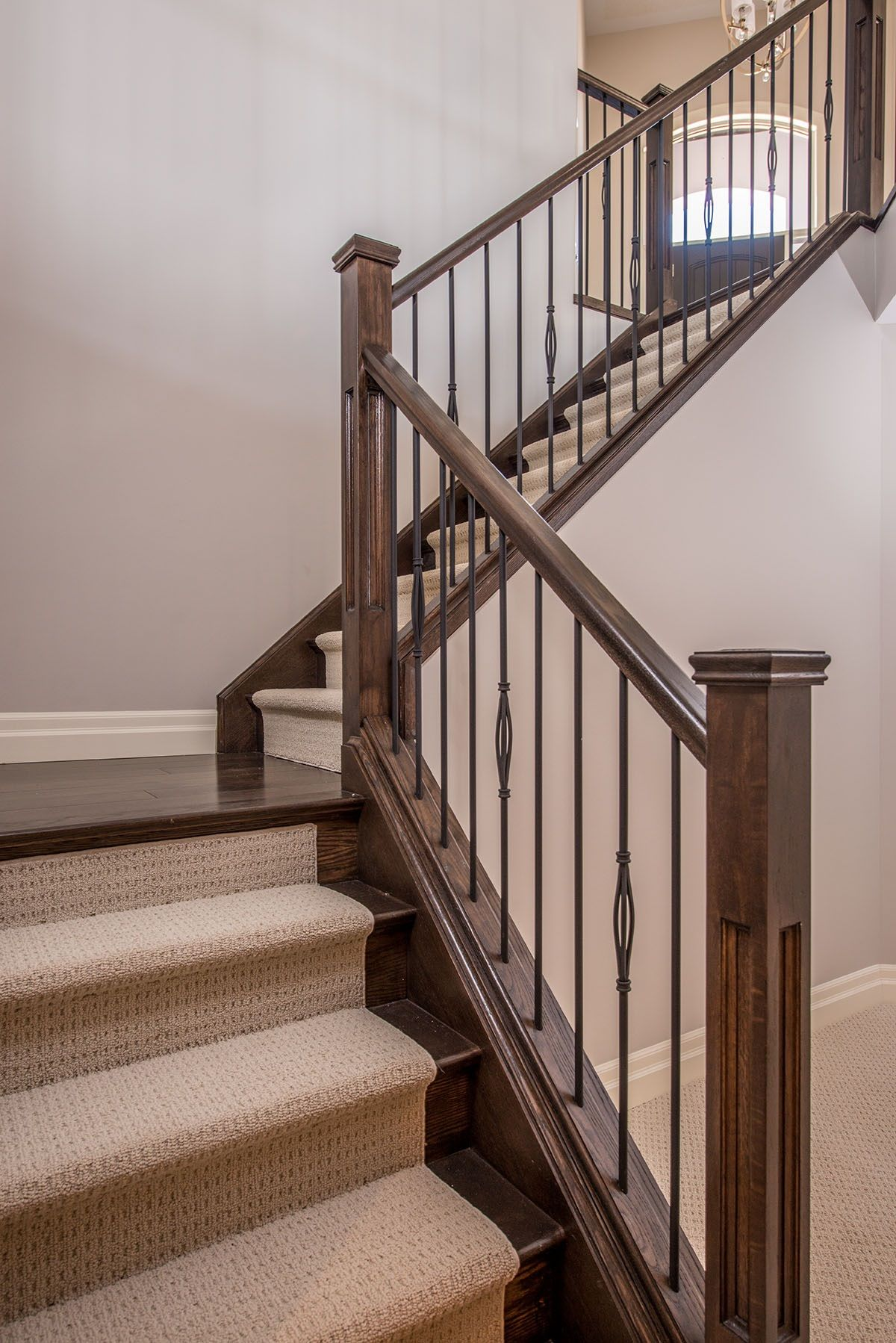 Best Oak Staircase With Carpet Runner Stained Railing 400 x 300