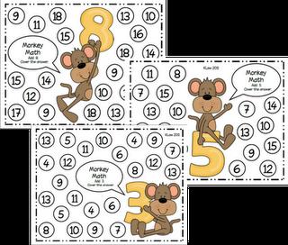 math ideas (+/- and cover) Kleur twee getallen die met drie erbij een som maken: bv. 10 en 13
