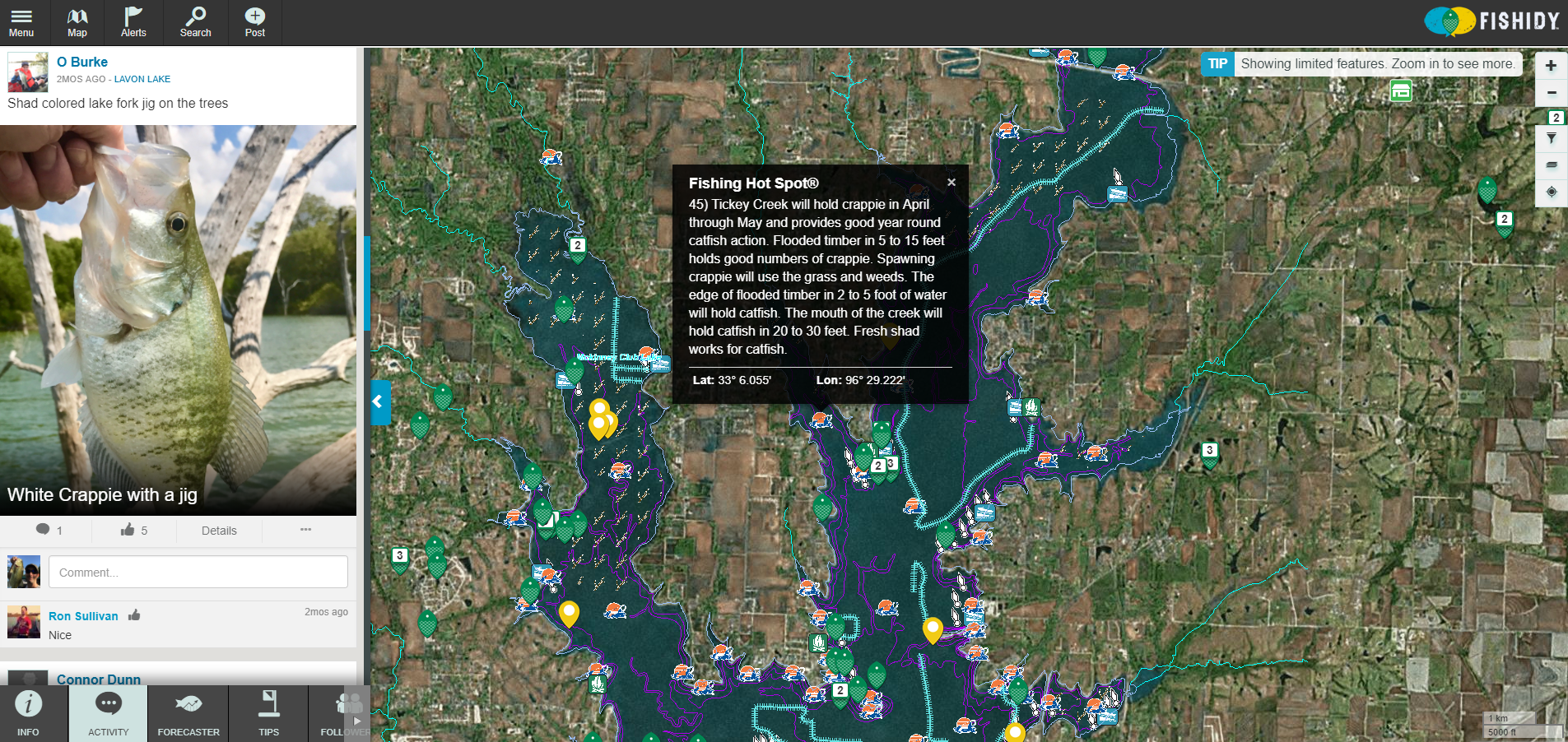 lake lavon hunting map Find Crappie Fishing Hot Spots On Lavon Lake Fishing Tips lake lavon hunting map