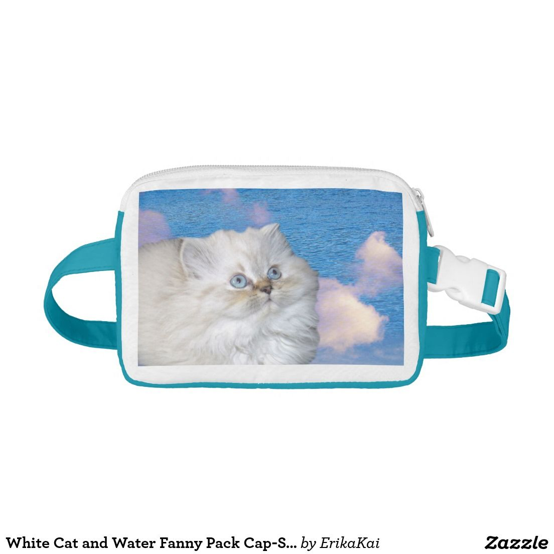 9ff4579765f1 White Cat and Blue Water Soft Nylon Fanny Pack. Pouch 4