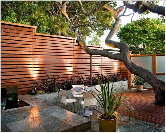 Modern horizontal wood fence patio privacy wall ideas