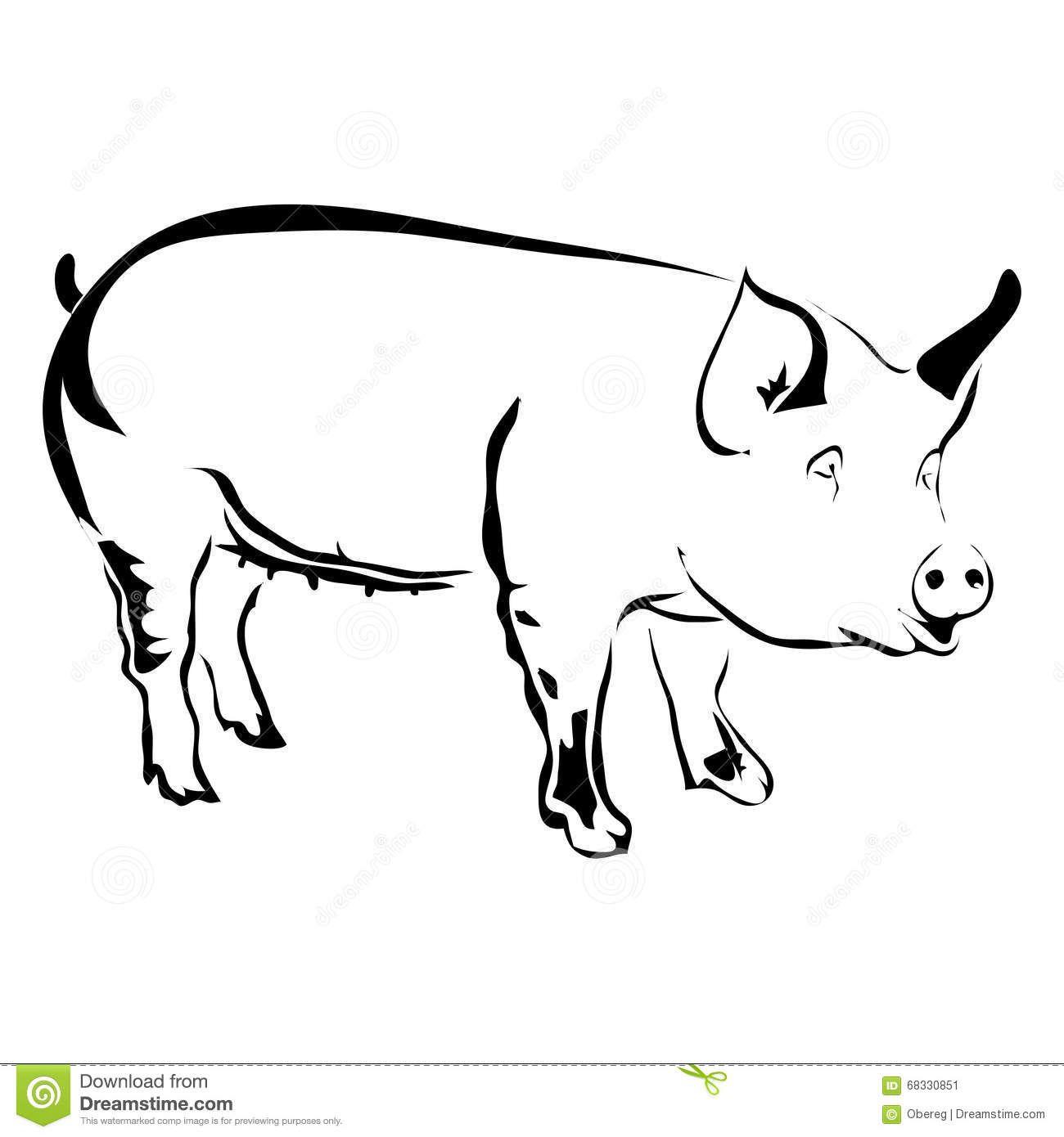 Outline Pig Vector Illustration Pig Clipart Pig Illustration Pig Vector