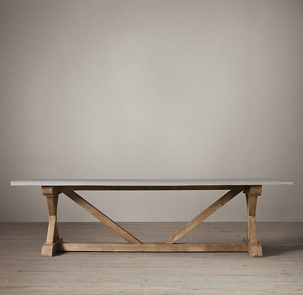 Salvaged Wood U0026 Weathered Concrete X Base Rectangular Dining Table