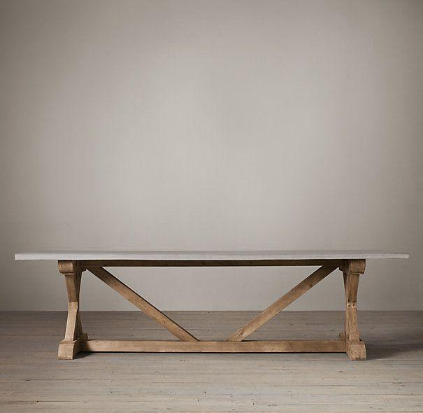 Salvaged Wood U0026 Weathered Concrete X Base Table   Restoration Hardware.  Mike Says No
