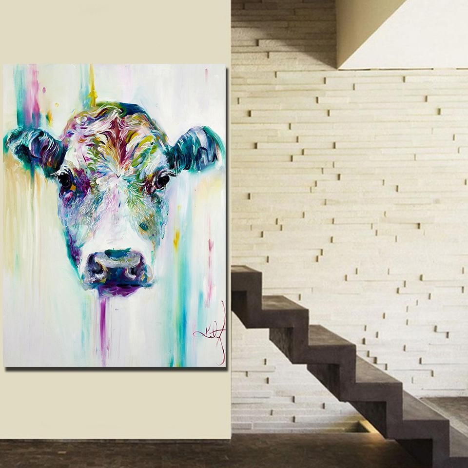 HD printed 1 piece canvas art animal calf painting living room decor ...