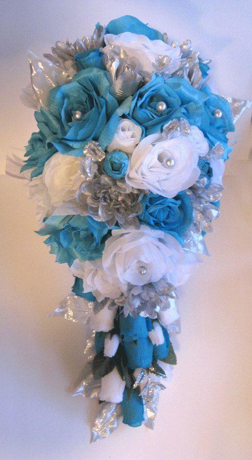 Wedding Bouquet Bridal Silk flowers Cascade TURQUOISE SILVER GRAY 8 ...