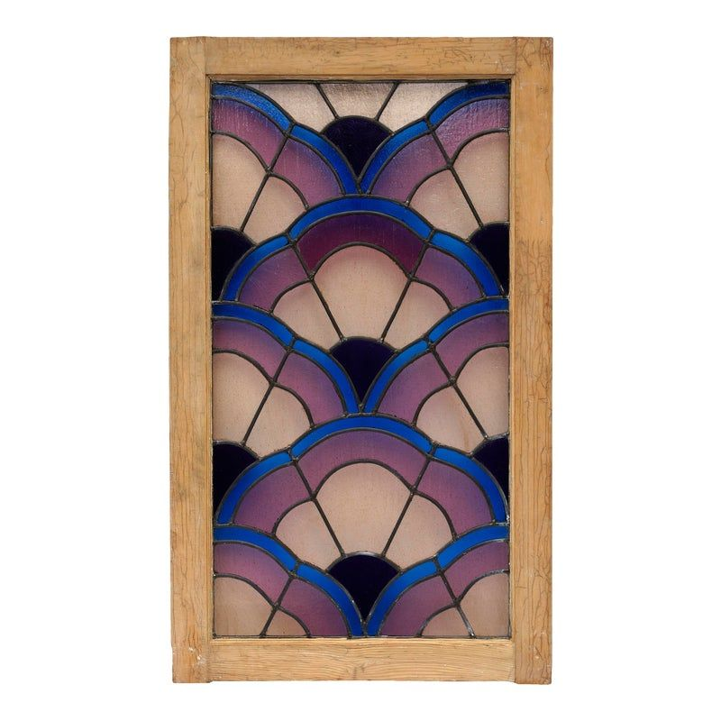 1930s Italian Art Deco Stained Glass Window -   beauty Art stained glass